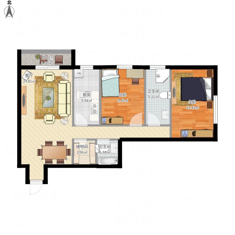 110平米两室两厅两卫的户型图