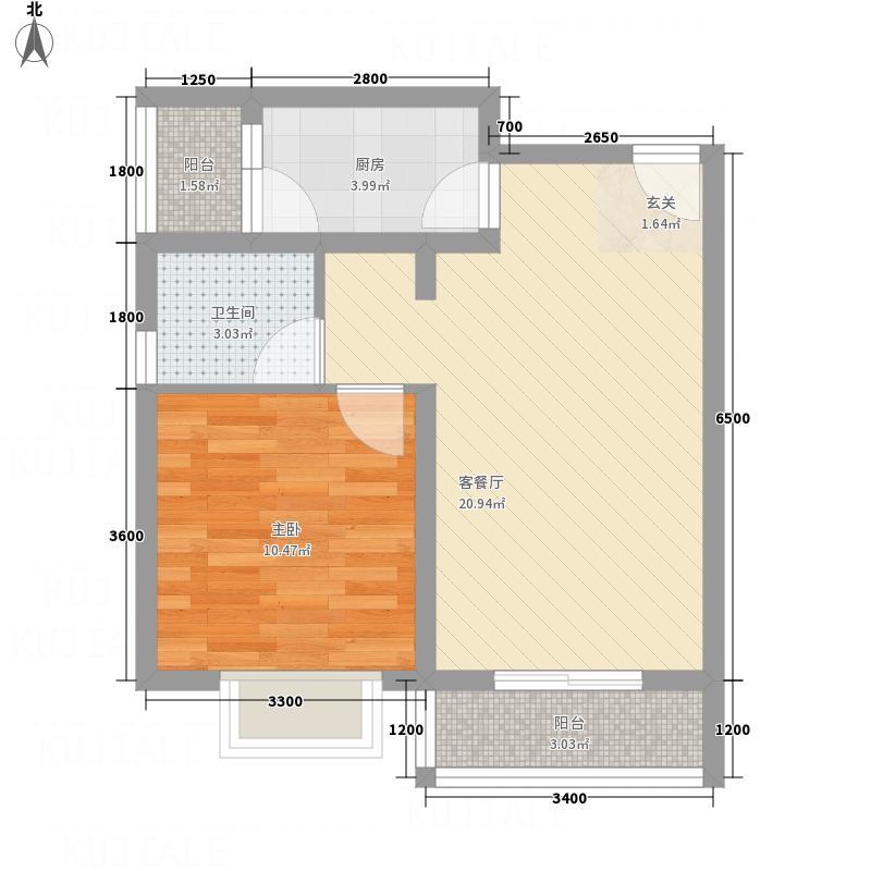科大花园51.50㎡K1户型1室2厅1卫1厨