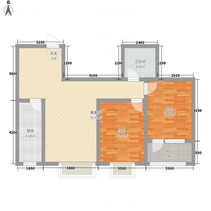 八里庄・盛世华园7.34㎡户型2室2厅1卫1厨