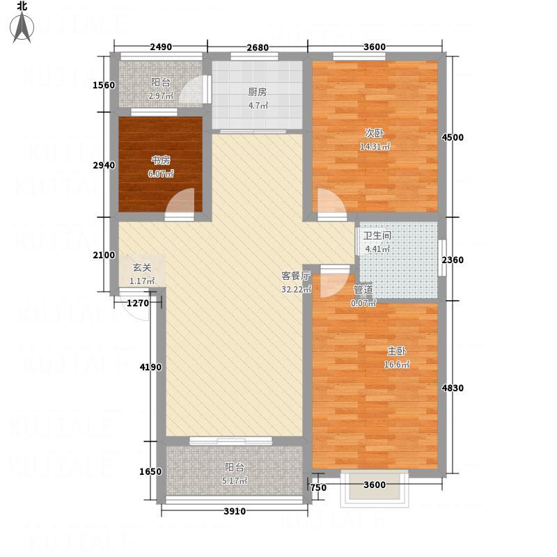长运家园北苑1.80㎡E1户型3室2厅1卫1厨