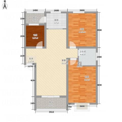 长运家园北苑3室1厅1卫1厨86.53㎡户型图