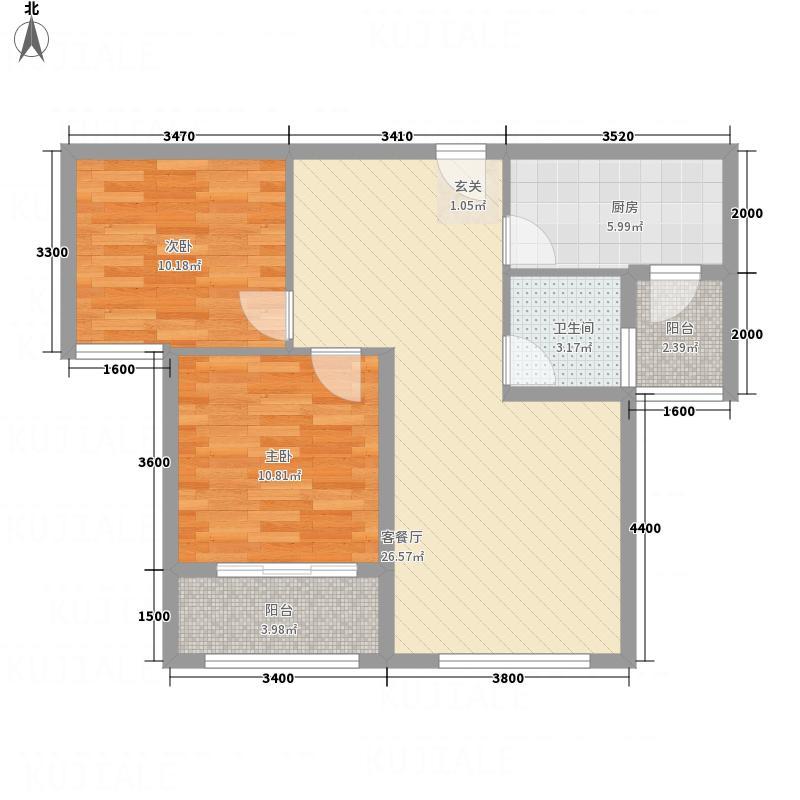 名士豪庭F户型2室2厅1卫1厨