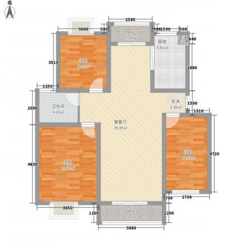 长运家园北苑3室1厅1卫1厨111.00㎡户型图