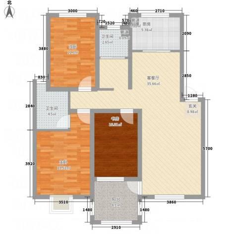 长运家园北苑3室1厅2卫1厨114.00㎡户型图