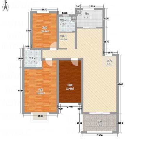 长运家园北苑3室1厅2卫1厨118.00㎡户型图