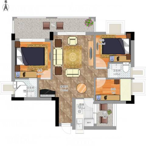 凤岗东江花园3室1厅2卫1厨72.00㎡户型图