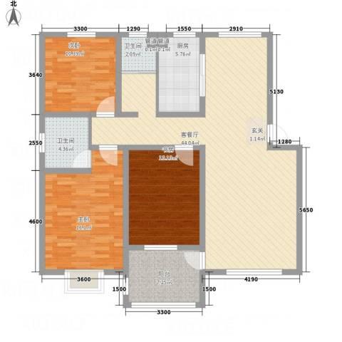 长运家园北苑3室1厅2卫1厨126.00㎡户型图