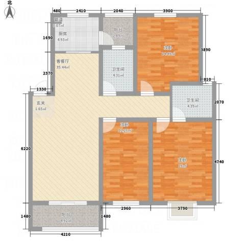 长运家园北苑3室1厅2卫1厨128.00㎡户型图