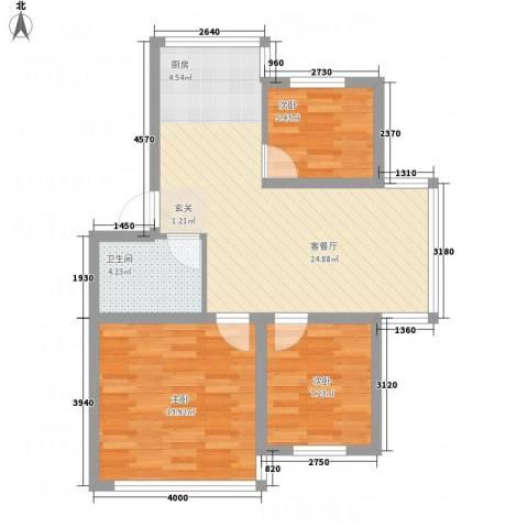 金河湾3室1厅1卫0厨79.00㎡户型图