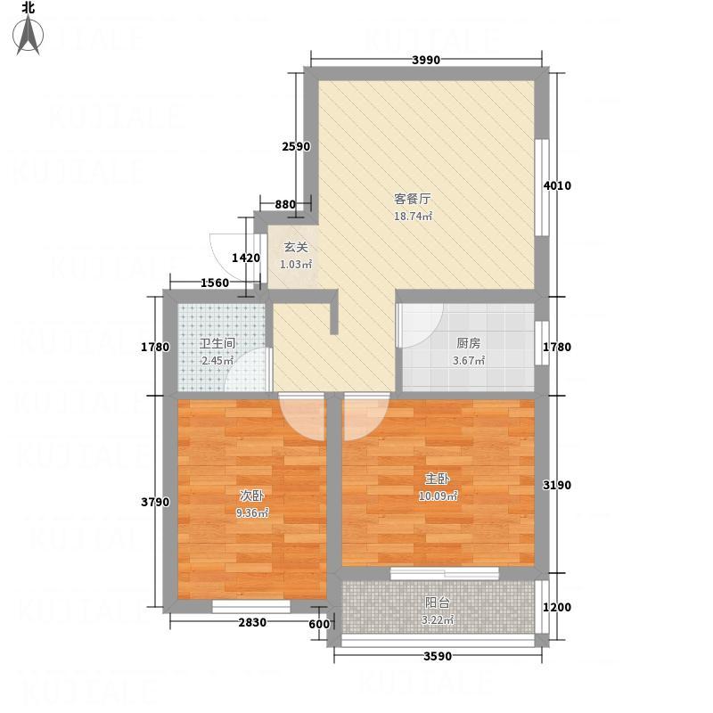 荣安广场68.73㎡户型2室2厅1卫1厨