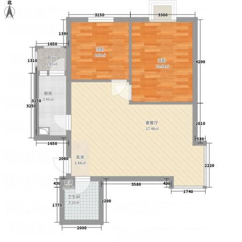 城南路房管局家属院2室1厅1卫1厨87.00㎡户型图