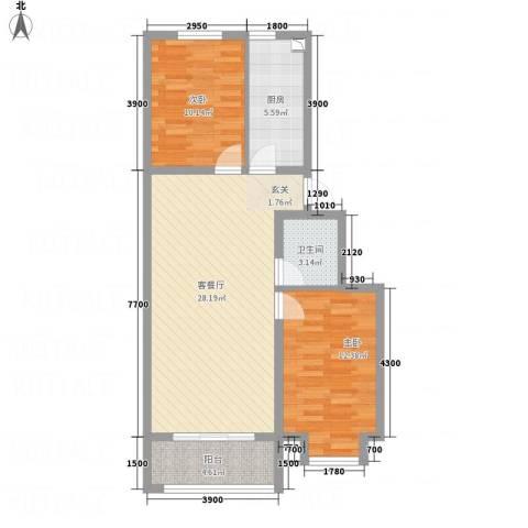 燕鑫花苑2室1厅1卫1厨88.00㎡户型图