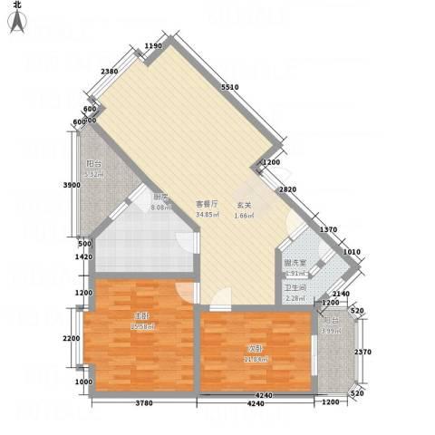 江畔首府2室2厅1卫1厨83.84㎡户型图