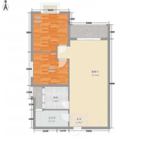 翰林尚城2室1厅1卫1厨80.17㎡户型图