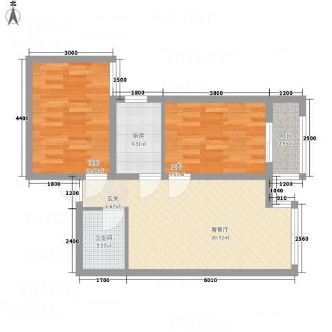 百花家园2室1厅1卫1厨89.00㎡户型图