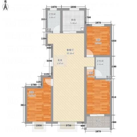 万洲国际3室1厅2卫1厨116.00㎡户型图