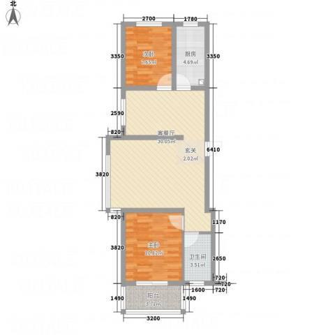 万洲国际2室1厅1卫1厨87.00㎡户型图