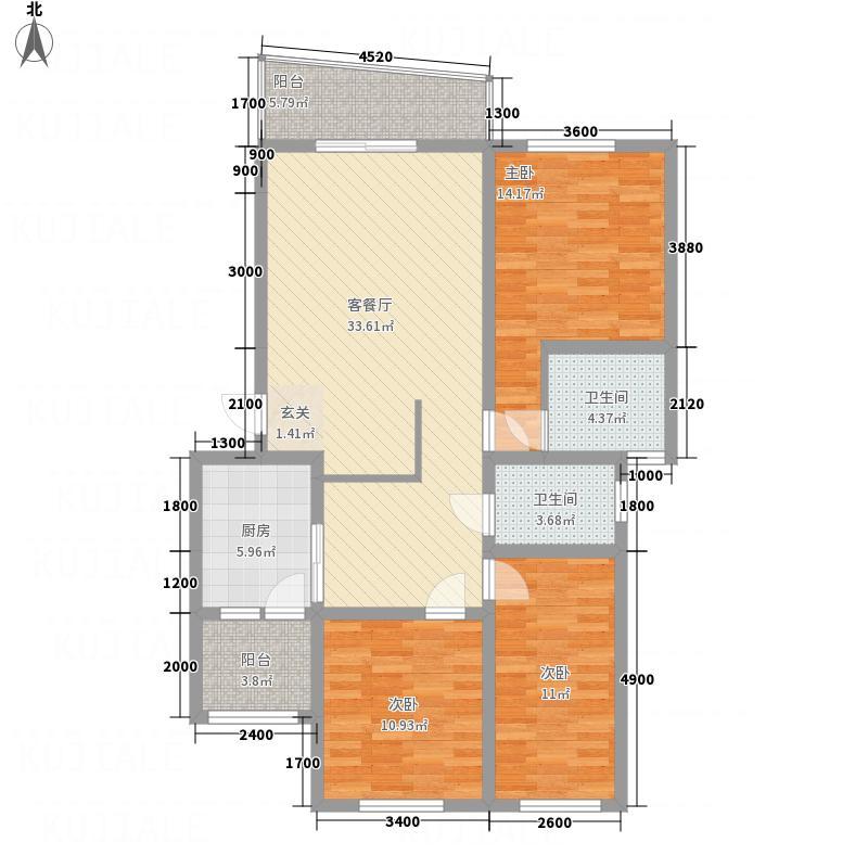 江畔首府F13-2-2户型3室2厅2卫1厨