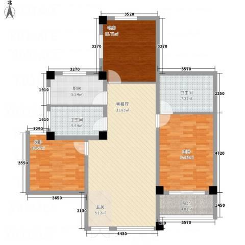 万洲国际3室1厅2卫1厨91.21㎡户型图