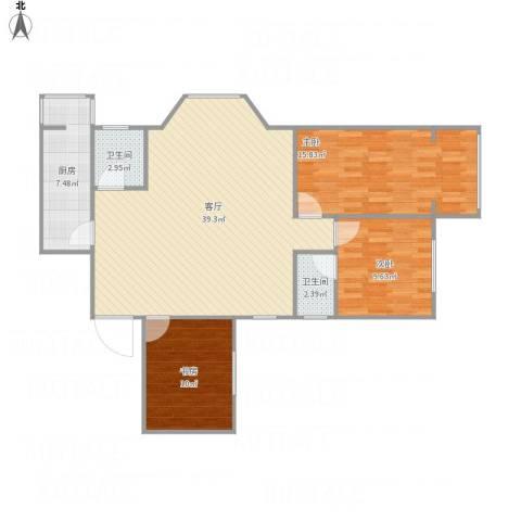 玺萌丽苑3室1厅2卫1厨117.00㎡户型图