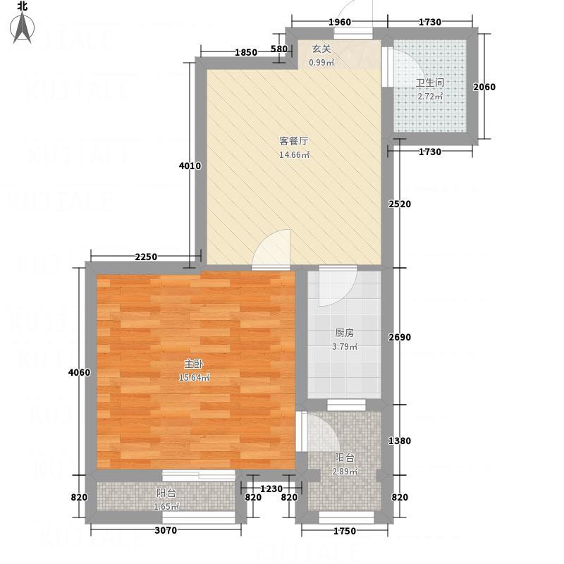 恒顺世纪中心61.80㎡2#楼B户型1室1厅1卫