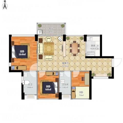 尚书悦府3室1厅1卫1厨110.00㎡户型图