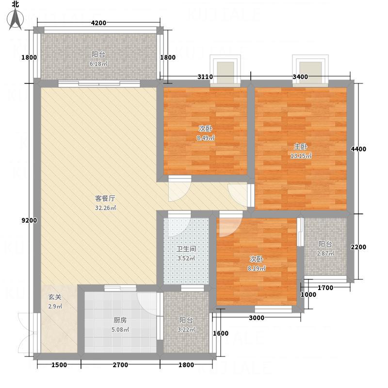 紫金名门5.88㎡户型3室2厅2卫1厨