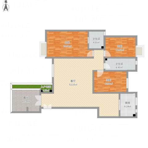 金泰丝路花城3室1厅3卫1厨180.00㎡户型图