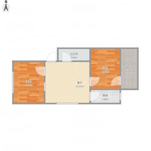 启明小区2室1厅1卫1厨56.00㎡户型图