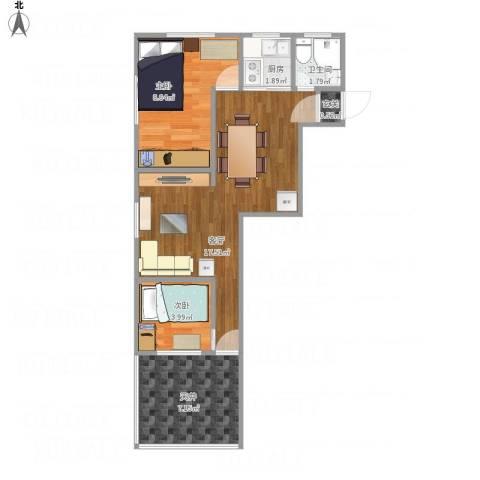 上钢五村2室1厅1卫1厨57.00㎡户型图