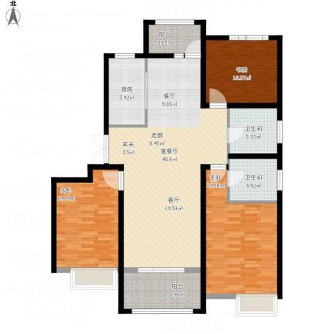 鑫苑景城3室1厅2卫1厨155.00㎡户型图