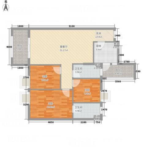 平冈新城3室1厅2卫1厨120.00㎡户型图