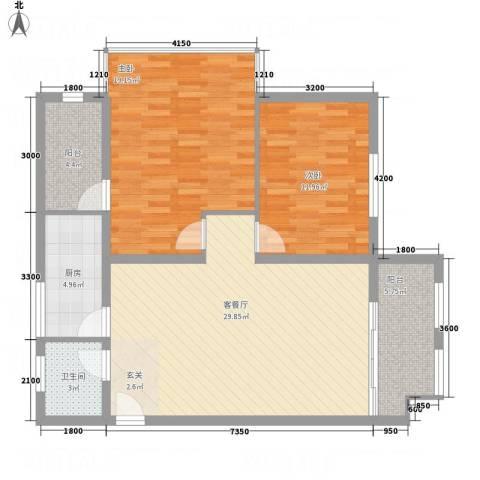 中天虹桥花园2室1厅1卫1厨111.00㎡户型图