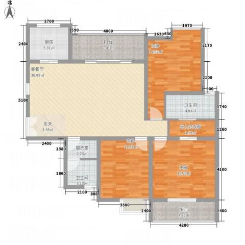 中天虹桥花园3室2厅2卫1厨156.00㎡户型图