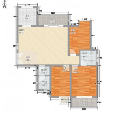 中天虹桥花园3室2厅2卫1厨129.00㎡户型图