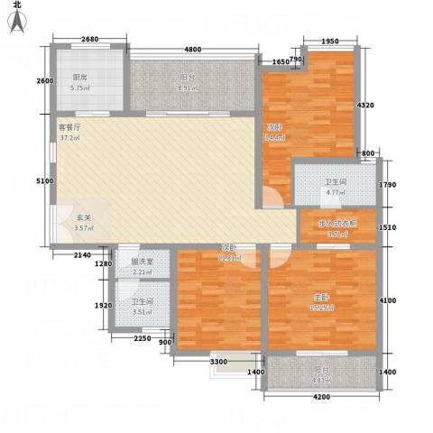 中天虹桥花园3室2厅2卫1厨160.00㎡户型图
