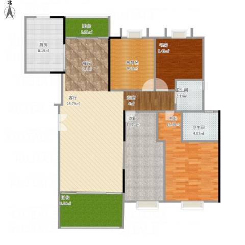 贝迪豪庭3室1厅2卫1厨140.00㎡户型图