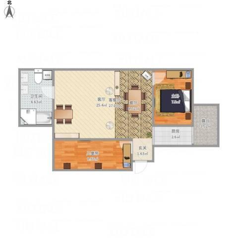 红旗新区2室1厅1卫1厨76.00㎡户型图