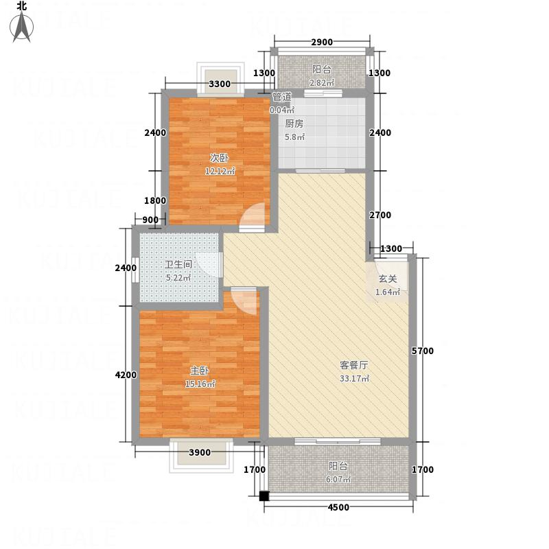 潇河湾12.65㎡E户型2室2厅1卫1厨