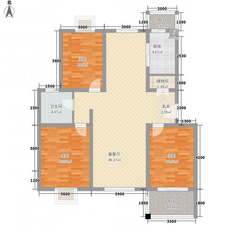 潇河湾125.53㎡D户型3室2厅1卫1厨