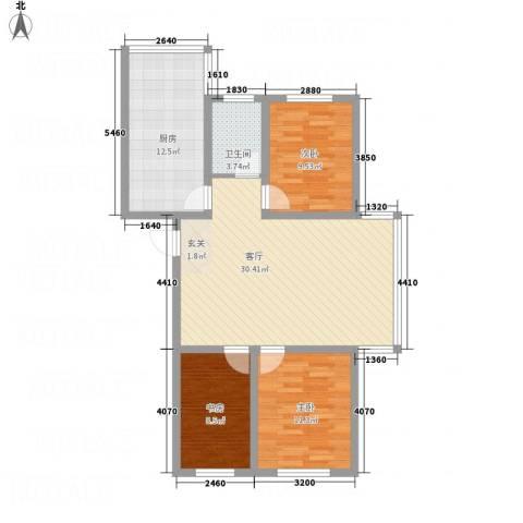 金河湾3室1厅1卫1厨75.99㎡户型图