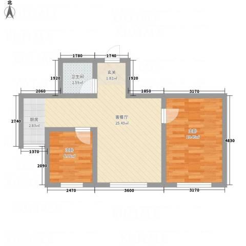 金河湾2室1厅1卫0厨77.00㎡户型图