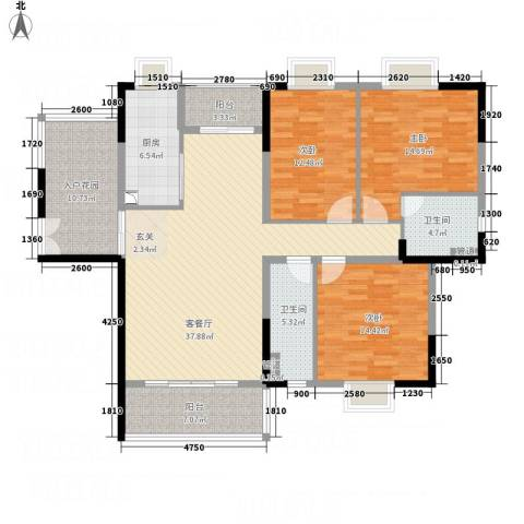 御品蓝湾3室1厅2卫1厨145.00㎡户型图