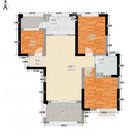 荆门碧桂园三期凤栖岛3室1厅1卫1厨112.00㎡户型图