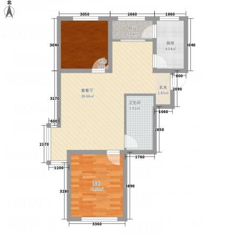 牡丹城2室1厅1卫1厨84.00㎡户型图