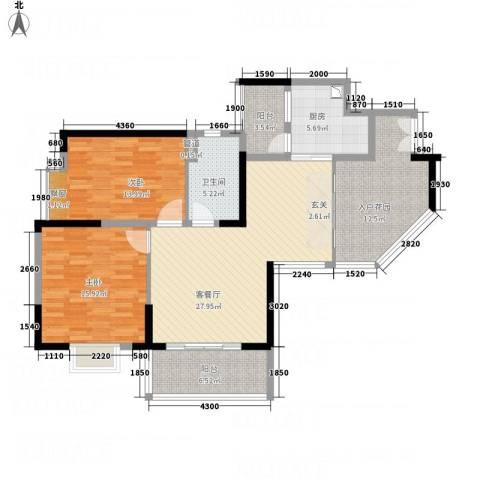 御品蓝湾2室1厅1卫1厨91.51㎡户型图