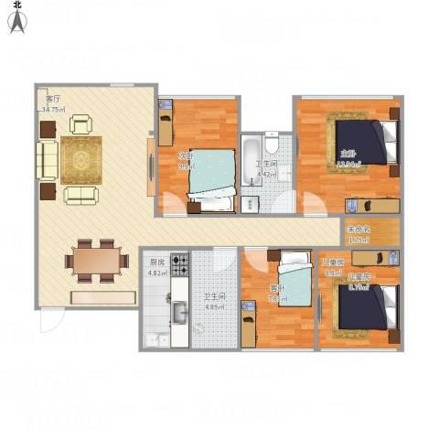 柳东国际4室1厅2卫1厨119.00㎡户型图