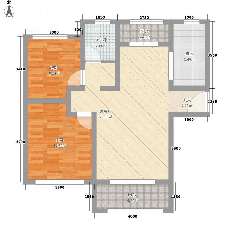 中心国际12218.72㎡a户型2室2厅1卫1厨