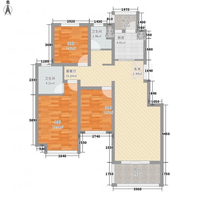 雨润星雨华府13.20㎡C-1户型3室2厅2卫1厨