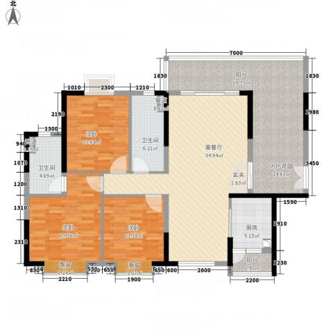 御品蓝湾3室1厅2卫1厨138.00㎡户型图